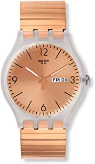 Swatch Originals Quartz Movement Rose Gold Dial Unisex Watch SUOK707B