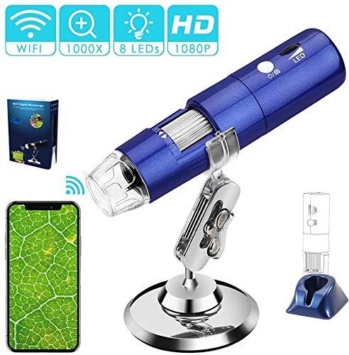 HYCQ Microscopio Industrial 2MP HD 1080P 1000x USB W-LAN electrónica Digital microscopio de Bolsillo Mini Zoom 8 Patas LED para Estudiantes Niños para iPhone iOS teléfono androide del iPad de Windows
