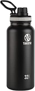 Takeya Black Originals Vacuum-Insulated Stainless-Steel Water Bottle, 32oz