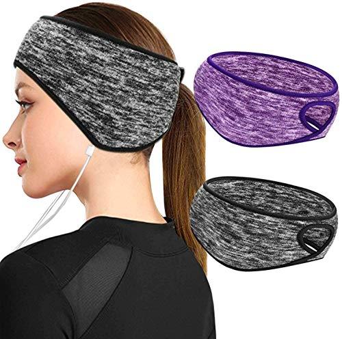 Stirnband für Damen Mädchen, 2St Winter Ohrenwärmer Stirnbänder mit Pferdeschwanz Frauen Kopftuch Haarband, Fleece Thermo Ohrenschützer Ohrwärmer Sport Haarbänder Schweißbänder für Fahrrad Motorrad