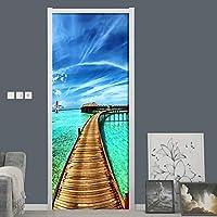 モルディブ風景パターンドアステッカー壁画PVC粘着壁紙ポスターリビングルーム寝室ドア家の装飾デカール-77X200CM