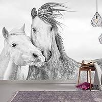 注文の馬の3Dの壁紙のリビングルームの寝室の壁画の北欧の現代カップルの白い馬の壁の装飾の自己接着壁画