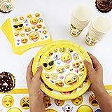 Kompanion 81-teiliges Party-Set Emoji Kindergeburtstag Partydekoration - Pappteller, Tassen, Servietten, Tischdecke und Bonus Emoji Aufkleber, Geburtstagsfeier Zubehör für 20 Kinder - 5