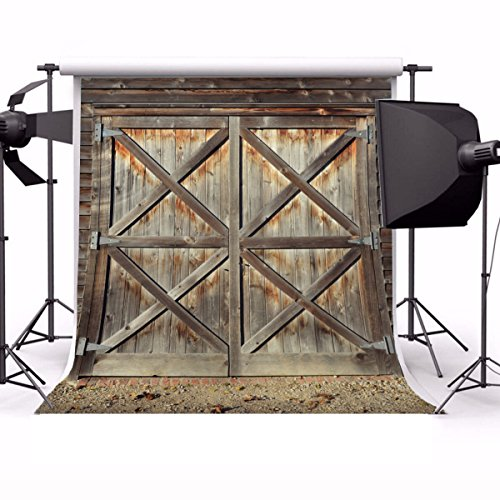 Laeacco 6x6ft Vinyl Backdrop Rustic Barn Photography Background Shabby Door Front Barn Wooden Texture Grunge Backdrop Countryside Style Children Adults Backdrop Photo Studio Props
