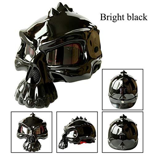 Casco de Moto,Casco Abierto,Creativo Uso Dual Cráneo Casco Moto Retro Mujer y Hombre para Motocicleta Ciclomotor y Scooter Bicicleta Fuera de la Carretera Locomotora Helmet,Bright Black-L(59~60CM)