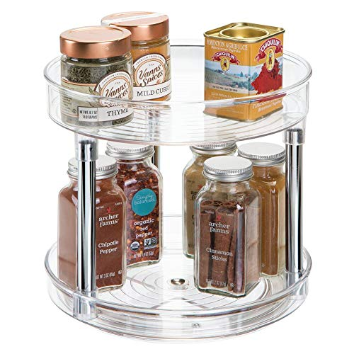 """mDesign 2 Tier Lazy Susan Turntable Food Storage Container for Cabinets, Pantry, Fridge, Countertops - Raised Edge, Spinning Organizer for Spices, Condiments - 9"""" Round - Clear/Chrome"""