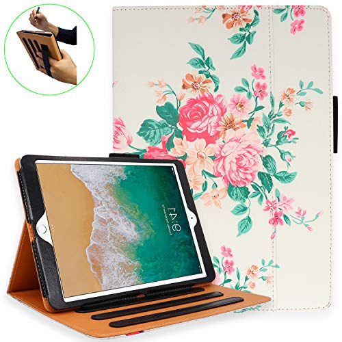 iPad 7th Generation Case, iPad 10.2 Case with Pencil Holder - Multi-Angle Stand, Hand Strap, Auto Sleep/Wake for iPad 7th Generation, iPad 10.2 Case(PinkFlower)