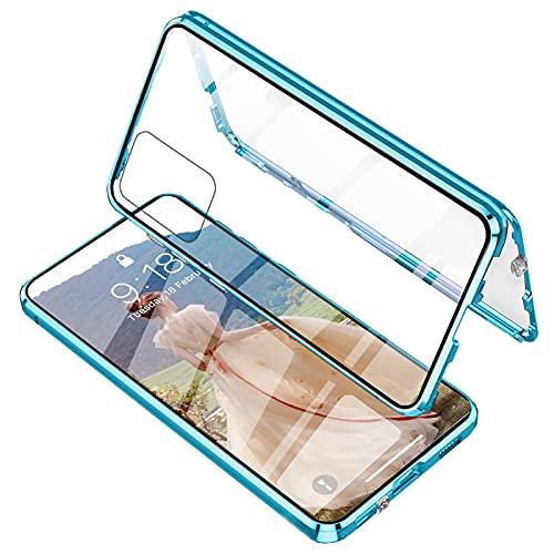 ADOQPRA Hülle Samsung A52 Magnetische Adsorption Handyhülle,360 Grad Metall-Stoßschutz Transparentes Vorder- und Rückseite gehärtetes Glas Einteiliges Design Case+ Kamera Linse Schutz,Blau