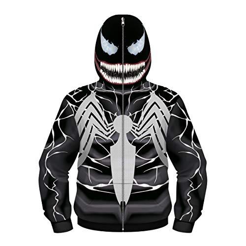 Felpa con Cappuccio 3D Supereroe Venom Felpa con Cappuccio Sportiva Spider-Man Giacca da Uomo Moda Giacca da Bambino Moda per Bambini(Size:M,Color:Nero-A)