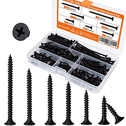 Drywall Screw Assortment, Fine Thread Sharp Point with Phillips Drive #6 Bugle Head, Ideal Screw for Drywall Sheetrock, Wood and More, Black