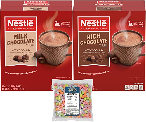 Nestle Hot Cocoa Mix Variety, Milk Chocolate & Rich Chocolate, 110 Single Serve Hot Cocoa Packets with By The Cup Dehydrated Marshmallows