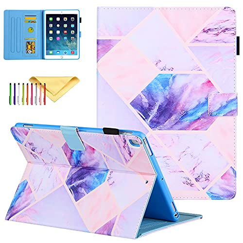 Uliking iPad 10.2 inch Case 2020/2019, iPad 8th Generation Case, iPad Air 3 Cover 2019, PU Leather Cover with Pen Holder, Stand Case Auto Sleep Wake for iPad 10.2/10.5' Tablet, Colorful Grid Marble