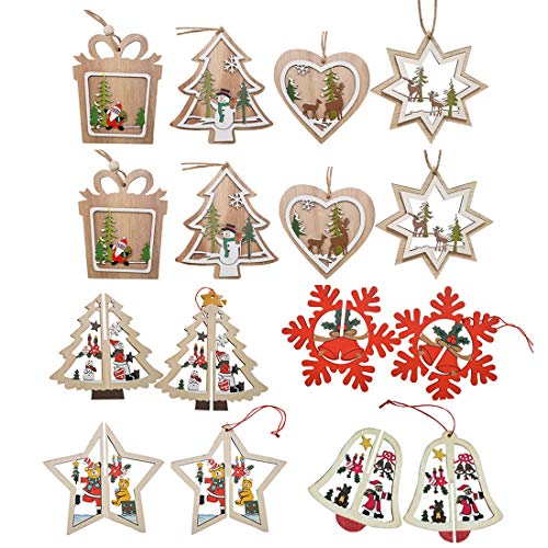 BeiLan 16piezas de Adornos para árboles de Navidad, Colgante Colgante para Árbol de Navidad y Decoración de Fiesta