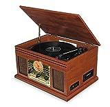 SXLCKJ Tocadiscos, Tocadiscos, Tocadiscos de Vinilo con Altavoces Reproducción de MP3 USB Bluetooth Radio FM Reproductor de CD y Cassette Vinta