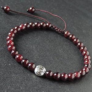 Healing Garnet Gemstones January Birthstone Braided Bracelet, Tibetan Yoga Lotus Bead