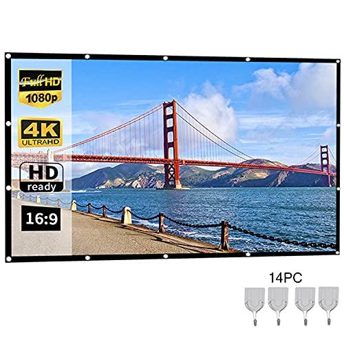 HAOXUAN Pantalla De Proyector, 100 Pulgadas (49'× 87') Pantalla De Proyección Portátil 16: 9 HD Pantalla De Cine Sin Arrugas Plegable Adecuada para Cine En Casa En Interiores Y Exteriores