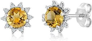 18K White Gold Diamond Stud Earrings Round 4mm Yellow Citrine 0.52 Ct