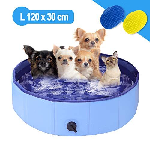Richino Hundepool Schwimmbad für Hunde,Faltbare Hund Planschbecken,Swimmingpool 120 x 30 cm, Schwimmbecken Hundebadewanne Pool Badewanne Wasserbecken, Klappbares Haustier-Duschbecken