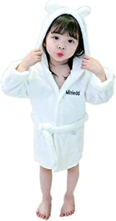 ZXJ Albornoz niños, Franela Niño Bata Coral Engrosamiento de baño Batas de Toalla Bata para los Bebés Niños Niñas,Blanco,120