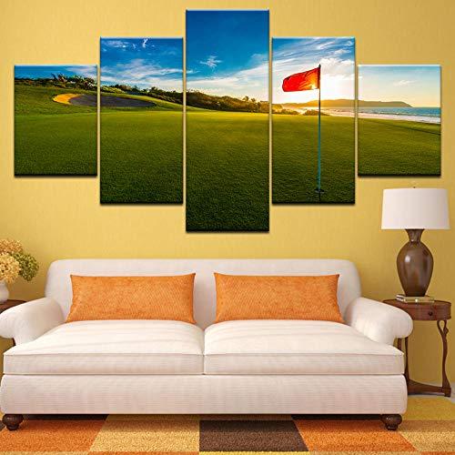 Bzdmly Canvas Schilderijen Gedrukt 5 Stuks Golfbaan Kust Muur Kunst Canvas Zonsondergang Landschap Foto's Voor Woonkamer Slaapkamer Home Decor 30x40cmx2,30x60cmx2,30x80cmx1