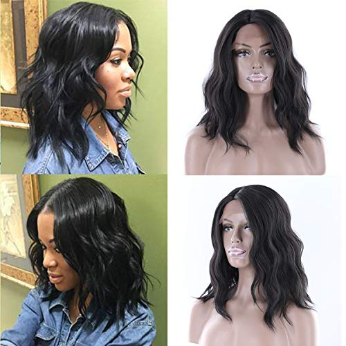 Longqibeauty Short Wavy Natural Hair Synthetic Wig Medium Brown Lace Front L Part Shaped with Natural Hairline Glueless Heat Resistant Replacement Wigs for Women (12 Inches, #1B, Natural Black)