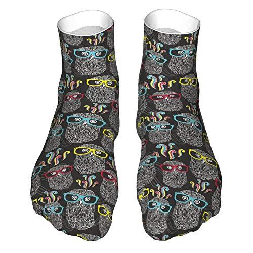 Calcetines deportivos para correr para hombres y mujeres, búhos en gafas de sol, calcetines de compresión para tobillo