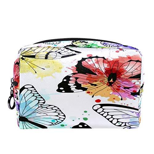 Bolsa de cosméticos Bolsa de Maquillaje para Mujer para Viajar Llevar cosméticos Cambiar Llaves, etc.,con Siluetas de Mariposas