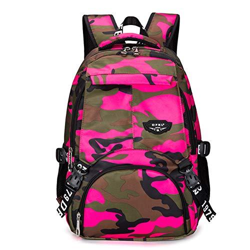 Bcony Camouflage Schulrucksäcke, rosarot Leichter Tagesrucksack aus Polyester-Oxford-Gewebe für Teenager Jungen Mehrfachtaschen-Tagesrucksack für Outdoor-Sportreisen