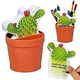 Gifts for Readers & Writers DeskPlant Organizzatore Divertente Scrivania Ordinata Vaso Porta Penne Blocchetto Note Adesivi Regalo per Scuola e Ufficio - Cactus