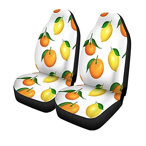 Set van 2 autostoelhoezen kleurrijke citrusvruchten en mandarijnvruchten in cartoon universele auto front seats protector 14-17IN