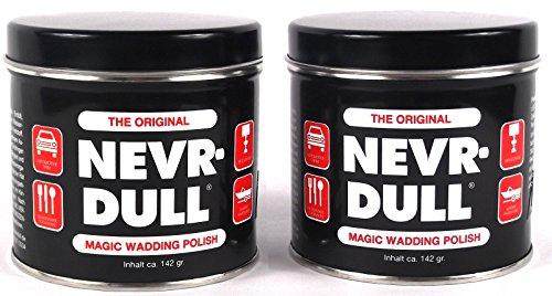 2x NEVR DULL Polierwatte für Chrom, Alu, Messing und andere Metalle 142 g