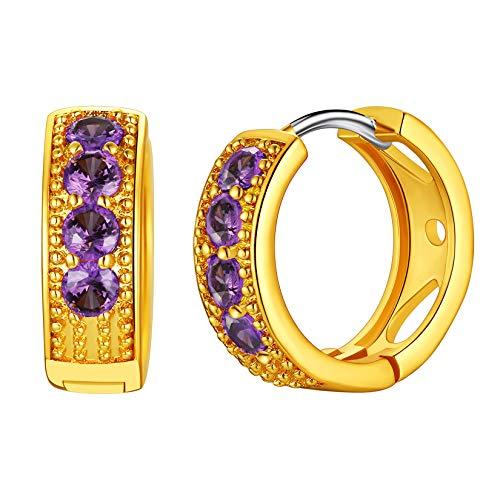 Birthstone Hoop Earrings for Women Girls, Womens Jewelry, February Birthstone Earrings, Small Amethyst Huggie Earrings, Mini Cartilage Hoop Earrings
