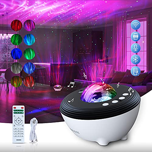 Star Projector, KIWIHOME Night Light Projector Upgrade Smart Aurora Projector with APP Control & Alexa, Galaxy Projector with White Noise Bluetooth Speaker Remote for Bedroom Ceiling Kids Adults