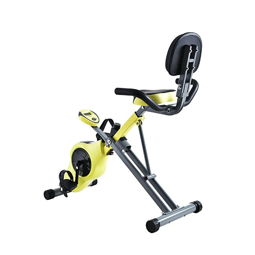 と闘うクロールヘルパー室内自転車 フィットネスバイク ホームオフィスフィットネスフォールディング磁気制御回転スピニング自転車多機能レイジーカー エアロフィットネス バイク (色 : 黄)