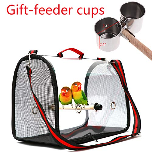 Gatycallaty Bird Carrier with Perch Parrot Travel Lightweight Bird Cage Backpack Space Capsule Bubble Bags (Black)