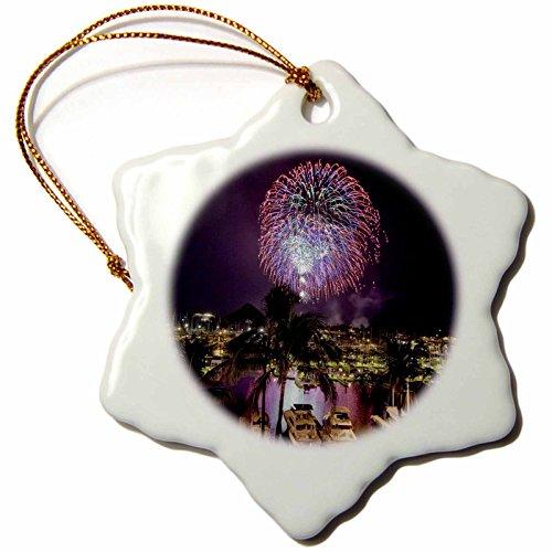 3dRose 'July 4 th Holiday Fireworks, Oahu, Hawaii, Douglas Peebles' Snowflake Ornament, Multi-Colour, 3-Inch