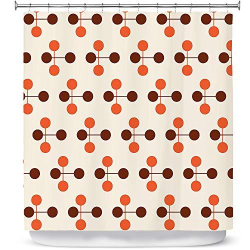 DiaNoche Ontwerpen Badkamer Douchegordijnen door Nika Martinez - Mid Century Dottie Oranje Chocolade