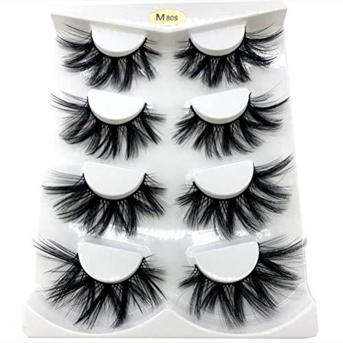 POM Lashes Natural Long False Eyelashes Volume Fake Lashes Makeup Extension Eyelashe,4 Pairs M806