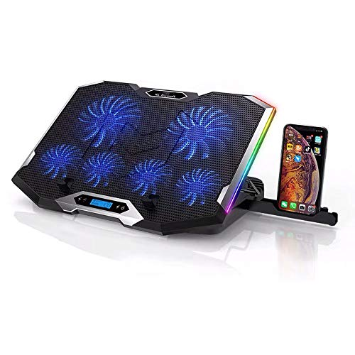 LKNJLL RGB Laptop Cooling Pad Cooler for 15.6-17 Inch Laptop with 6 Quiet Fans and Touch Control, USB Port