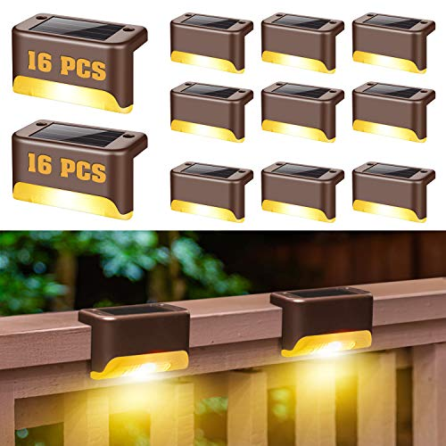 Solar Deck Lights, 16 Pack Fence Post Solar Lights, Solar Step Lights Outdoor Waterproof for Outdoor Pathway, Yard, Patio, Stairs, Step and Fences (Warm White)