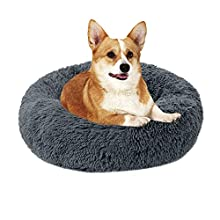 laamei Cama Redonda para Mascotas Deluxe para Gatos y Perros Pequeños y Medianos con Cojín Suave para Nido de Donut Cama de Dormir Peluda Cueva Lavable para Cuatro Estaciones(S/M/L) Color Sólido