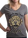 I Prefer My Doods Golden | Funny Goldendoodle Golden Doodle Dog V-Neck T-Shirt-(Vneck,M)