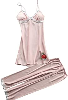 Womens Lace Pajama Set V-Neck Sleeveless Sleepwear Nightwear Underwear Cami Top with Long Pants Sexy Pjs Sets