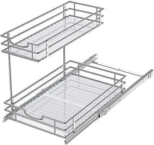 2 Etagen ausziehbare Aufbewahrungskörbe, Küche Metall verschiebbare Körbe, Unterspüle Schrank Organizer für Küche und Bad, Mehrzweck-Aufbewahrung Organizer (Silber)