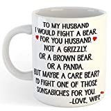 Taza blanca de café con texto en inglés «To Husband Gifts, I would Fight A Bear For You, Husband and Wife