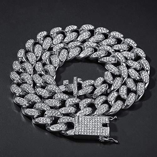 Kunze Collar de Cadena Gruesa Collar de Padre o Novio Regalo Estilo Hip Hop Longitud 16, 18, 20, 22, 24, 28, 30in