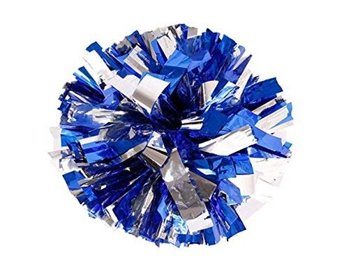 PUZINE Pack of 2 Cheerleading Metallic Foil & Plastic Ring Pom Poms Cheerleading Poms (Blue and Silver) (80g)