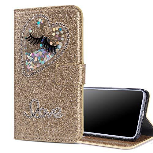 Nadoli Leder Hülle für Galaxy A71,Luxus Bling Glitzer Diamant 3D Handyhülle im Brieftasche-Stil Wimper Herz Flip Schutzhülle Etui für Samsung Galaxy A71,Gold