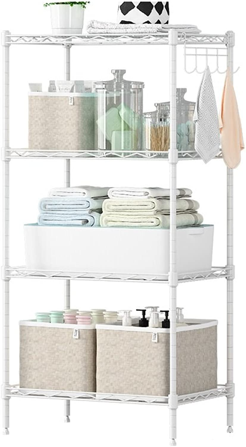 KXBYMX Modern Minimalist Economy Kitchen Shelves Metal Interior Storage Racks Metal Floor Racks Balcony Storage Shelves Storage Rack (color   White)