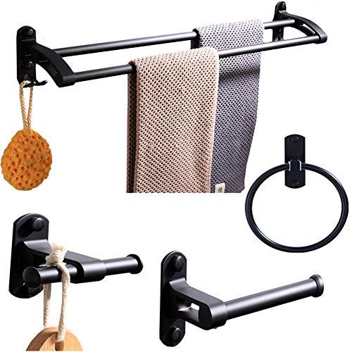 BAIVIN 4 Stück Handtuchhalter-Zubehör, Badezimmer-Hardware Wandmontage Doppel-Handtuchhalter Haken Toilettenpapier Handtuchring, Mattschwarz